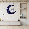 NJ3119 Sienų lipdukas Laivas mėnulyje