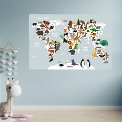NJ2086 sienų lipdukas Pasaulio žemėlapis vaikiškas