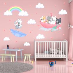 NJ3117 Sienų lipdukas Kačiukai skėtyje