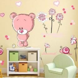 Vaikiškas sienų lipdukas Rožinis meškiukas