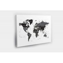 Kelionių žemėlapis su smeigtukais JUODA balta