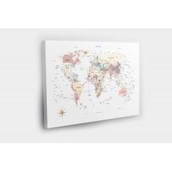 Kelionių žemėlapis su smeigtukais Akvarelė