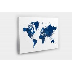 Kelionių žemėlapis su smeigtukais Mėlynas