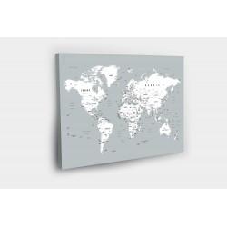 Kelionių žemėlapis su smeigtukais Pilkai baltas