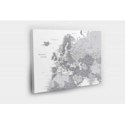 Europos žemėlapis ant drobės su smeigtukais