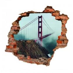 sienų lipdukas 3D Tiltas rūke