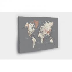 Kelionių žemėlapis su smeigtukais Tamsiai pilkas