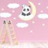 NJ2037 sienų lipdukas Panda ant mėnulio