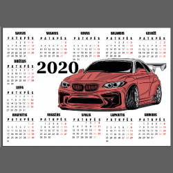 NJ2066 lipdukas - kalendorius Raudonas BMW