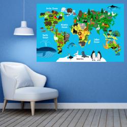 NJ2085 sienų lipdukas Pasaulio žemėlapis vaikiškas