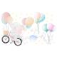 NJ2129 sienų lipdukas Drambliukas su dviračiu
